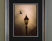 Surreal Digital Painting - Dark Poe Inspired Art Print -- Street Lamp - Raven ---  Nevermore