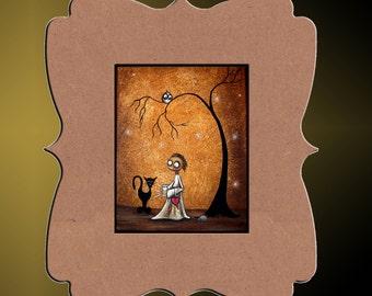 Whimsical Art Print -- Creeper - Black Cat - Hedgehog - Owl -- Art  Print Giclee -  Catching Fireflies