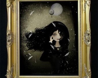 Steampunk Art Digital Painting -- Steampunk Enigma --  Goth Girl Art -- Dragonflies