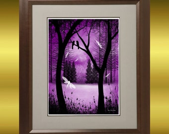 Fantasy Forest Tree Art  Print -  Before Ever After -- Trees and Dragonflies