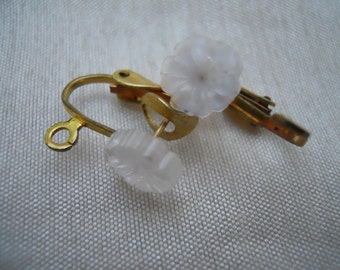 Vintage Brass Post Leverback Glass Flower Earring Findings