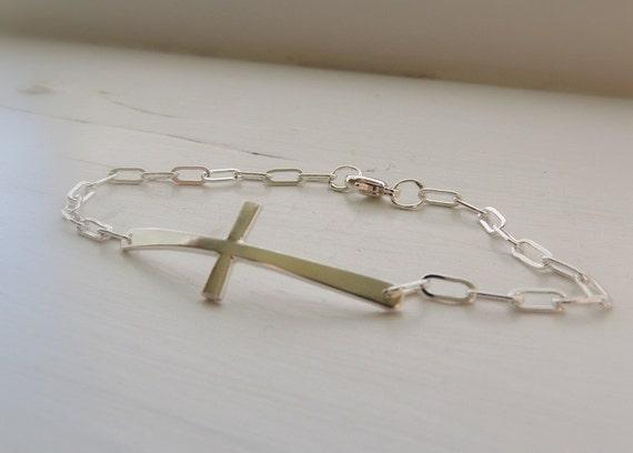 Silver Cross Bracelet - Silver Charm bracelet cross bracelet gift for her
