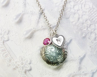 Silver Locket Necklace - Personalized Birthstone Locket - The ORIGINAL  Mommy Locket - Valentine's Day Mothers Bridesmaids Grandmother
