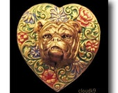 ENGLISH BULLDOG PIN. Jewelry for Old English Bulldog Lovers. Handpainted Heart Brooch Pin. Jewelry Gift. Valentines Day Gift for Women / Her