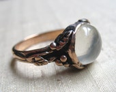 White Moonstone and Pink Silver Woodland Vine Ring