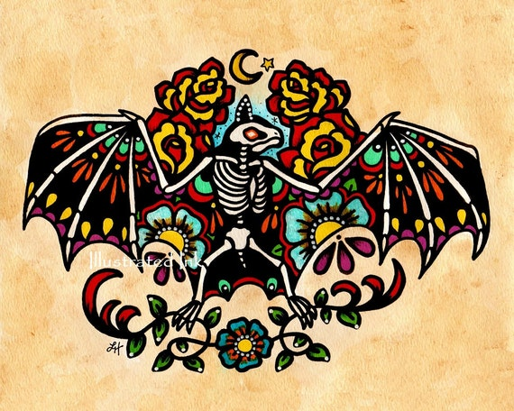 Old School Tattoo Skeleton BAT Day of the Dead Art Print 5 x 7, 8 x 10 or 11 x 14
