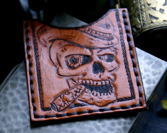 Leather Card Case-Leather Business Card Case-Leather Card Cases-Skull Leather Credit Card Case-Leather Card Case Sleeve-Leather Tooled Case