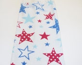 Patriotic Stars Hand Towel With White Crocheted Top