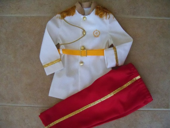 Prince Charming Children's Costume, White Coat with Red Pants, Sizes 12 months - Size 6
