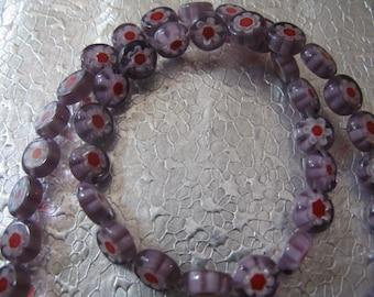 Millefiori Glass Beads ( 50 ) Lavender Purple Red beads 8mm