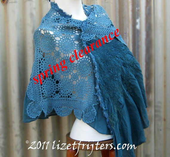 SPRING CLEARANCE SALE - Teal Upcycled Nuno Felt Spring and Summer Shawl with Doilies