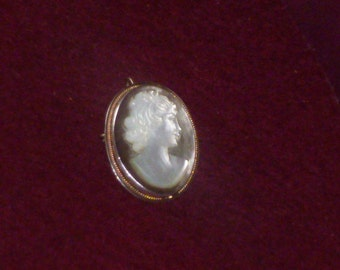 Vintage Cameo Carved on Iridescent Mother Of Pearl Shell.