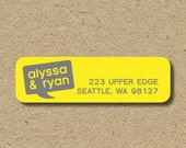 Return address labels, self-adhesive return address stickers - yellow and gray speech bubble