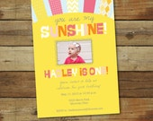 you are my sunshine first birthday invitation, first birthday party invitation photo card - 1st birthday