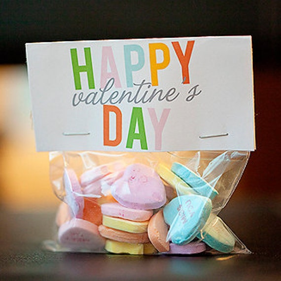 Happy Valentine's Day treat bag topper, printable valentine, editable pdf - instant download