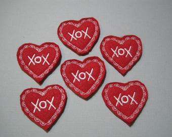 XOX Red Felt Embroidered Valentine Heart -  010