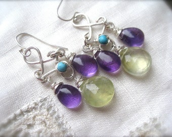 Soft green and Purple Chandelier Earrings with Amethyst and Prehnite