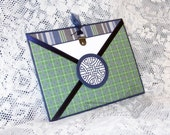 Celtic Knot Pocket Greeting Card, St Patricks Day card, Irish card, Navy Blue and Green Plaid Pocket card, Classic, Simple and Sophisticated
