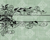 Digital Download Floral Vine Title Frame Border, digi stamp, digis, Elegant, Ornate, Antique Illustration Vintage