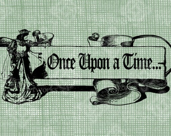 Digital Download Once Upon a Time Princess graphic, digi stamp, digis, digital stamp, Frame, Royal Fairy Princess with banner scroll