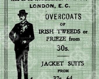Digital Download Ireland Fabric Ad for Tweeds, Irish Tweed Jacket Suits, Antique Illustration, digi stamp, digis, St. Patrick's Day