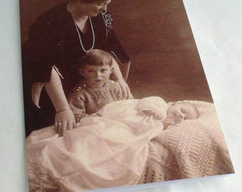 Mother and Children Blank Greetings Cards  featuring Vintage Images Mothers Day New baby Choice of border colour