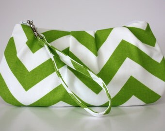 Green Chevron Wristlet