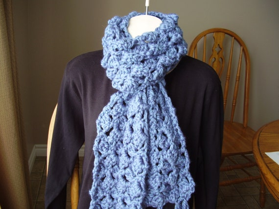 Crochet Super Bulky Cottage Blue Long Scarf