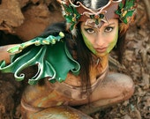 Sculpted Leather  Faerie Wings - Green Maple Fairywings Costume LARP Masquerade Cosplay Halloween - beadmask