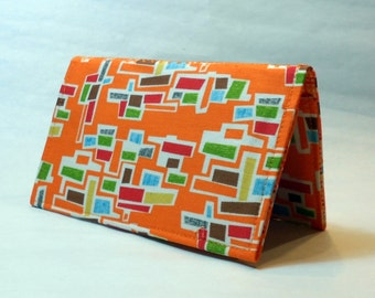 Checkbook Cover in Fabric - Orange Backsplash