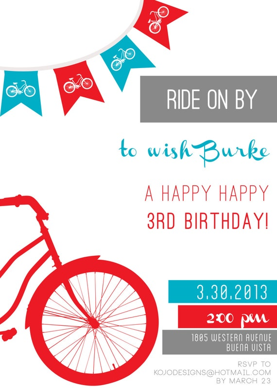 printable invitations ride on by bicycle birthday party or