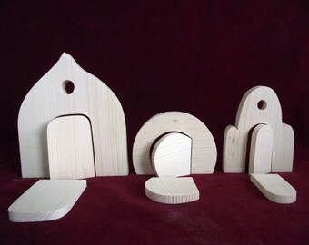 Set of 3 Fairy Doors, Unfinished Pine