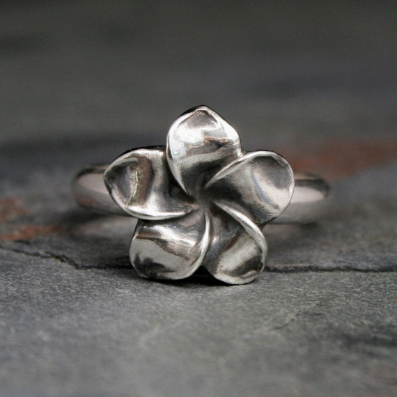 Plumeria Flower Ring, Sterling Silver, Hawaii Frangipani, Hawaiian Jewelry, Tropical Flower Blossom, Bloom