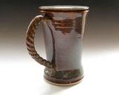 Amber Ceramic Coffee Mug with Lid - Mug with Cover - Tankard - handmade pottery