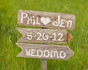Rustic Wedding Signs 3 On 1 Stake. Country Wedding. Outdoor wedding Decorations. Photo Hand Painted Wedding Signs. YOUR WORDING