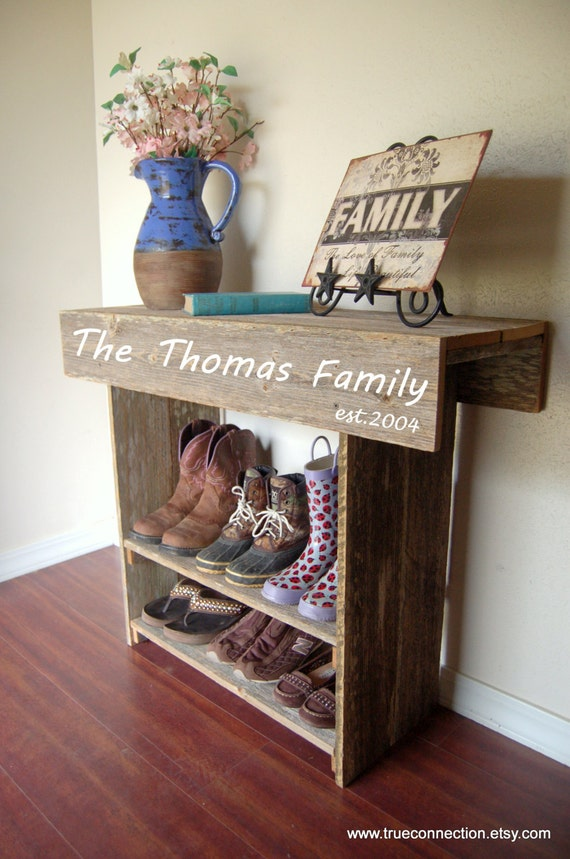 Foyer Table Name : Wood table with family name farmhouse entry rustic