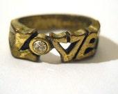 Groovy Love Ring with Rhinestone