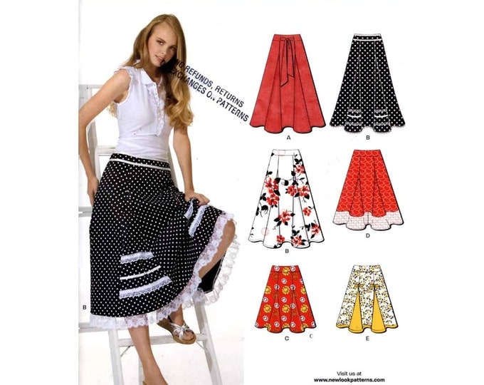 Pretty skirt pattern Spring Summer skirt Rockabilly style sewing pattern in 5 styles New Look 6944 Sz 4 to 16