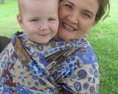 Gauze Baby Wrap Carrier - Periwinkle chocolate Patchwork - DVD included