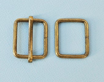 FREE SHIPPING--10 sets, 1 inch Anti Brass Rectangle Strap Sliders and 1 inch Anti Brass Rectangle Rings