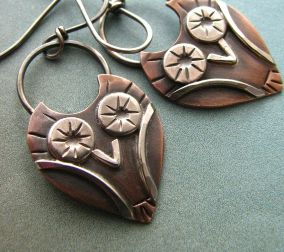 Little Owl Earrings Sterling Silver And Copper by Mocahete