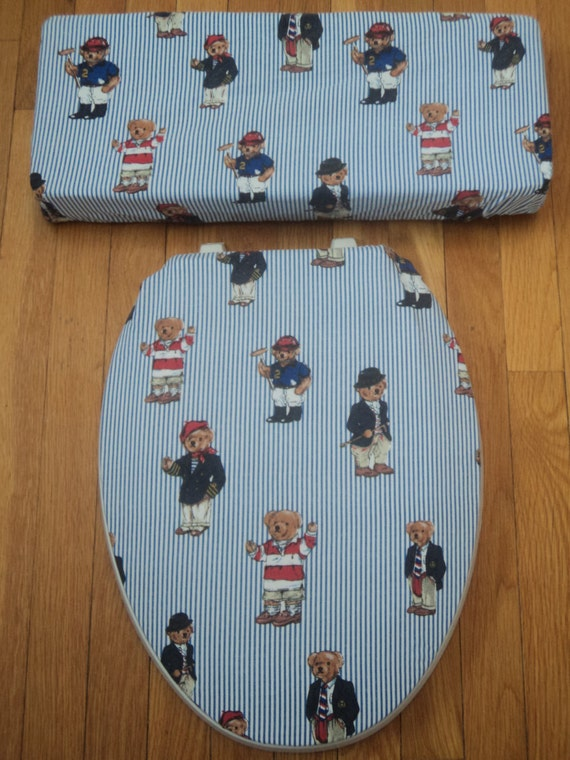 Ralph Lauren Polo Bears Toilet Seat Cover Set
