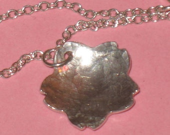 Handmade Hammered Fine Silver Cherry Blossom Pendant on Sterling Silver Chain Necklace