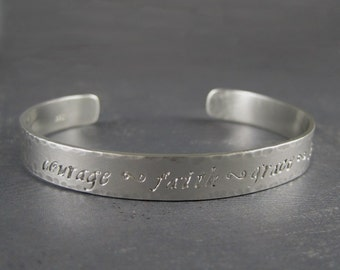 Custom engraved bracelet for women, Sterling silver bracelet cuff, Engravable bracelet for her, Personalized sterling silver bracelet