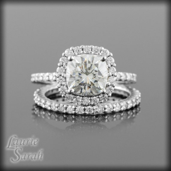 Moissanite Ring, Moissanite and Diamond Engagement Ring with Matching Diamond Wedding Band - Diamond Alternative - LS1872