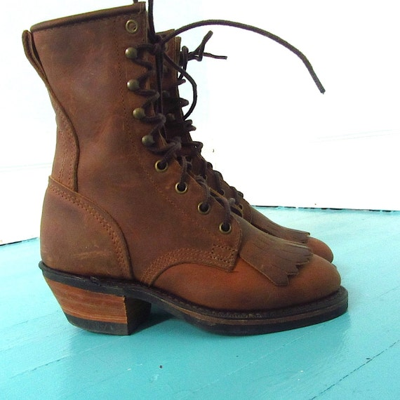 brown nubuck leather durango lace up boots womens 5