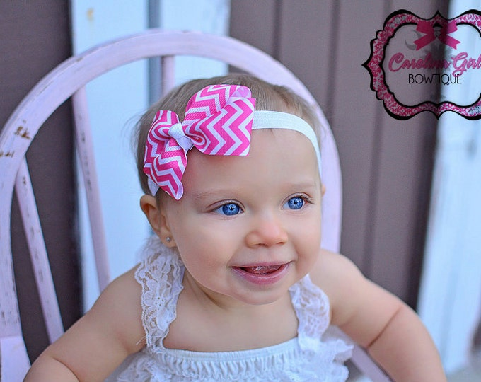 Hot Pink Chevron Bow Band - Bow on an Elastic Headband Baby Infant Toddler - Girls Hair Bows