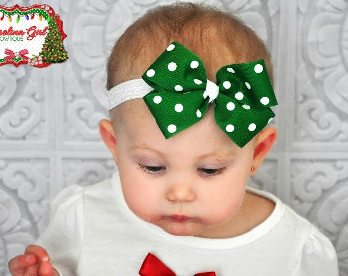 Green with White Polka Dots Bow Band - Bow on an Elastic Headband Baby Infant Toddler - Girls Hair Bows