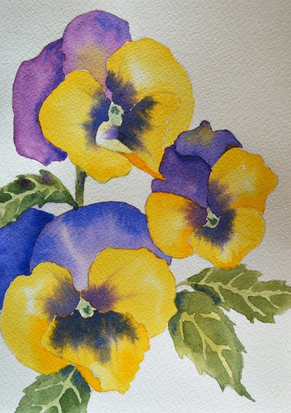 Art fine art print of purple and yellow pansy by yankeegirlart for Purple and yellow painting