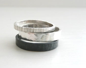 Three stackable Sterling Silver Bands, hammered, oxidized, vertical lines, textured finish